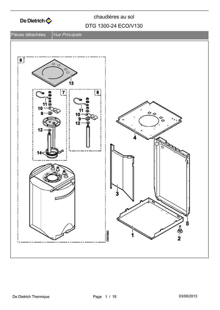 pi ces d tach es chaudi re de dietrich dtg 1300 24 eco v130 pi ces express pi ces. Black Bedroom Furniture Sets. Home Design Ideas