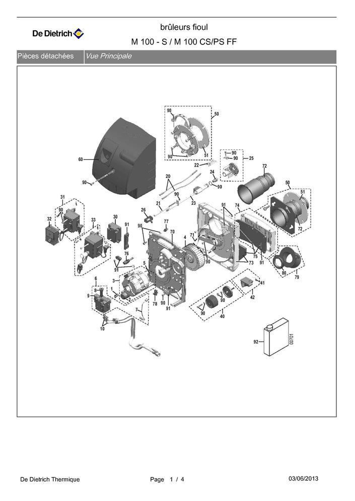 pi ces d tach es bruleur de dietrich m 100 s m 100 cs. Black Bedroom Furniture Sets. Home Design Ideas