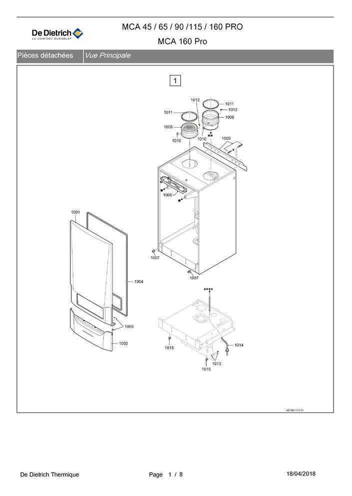 pi ces d tach es chaudi re de dietrich condens mca 160 pro. Black Bedroom Furniture Sets. Home Design Ideas