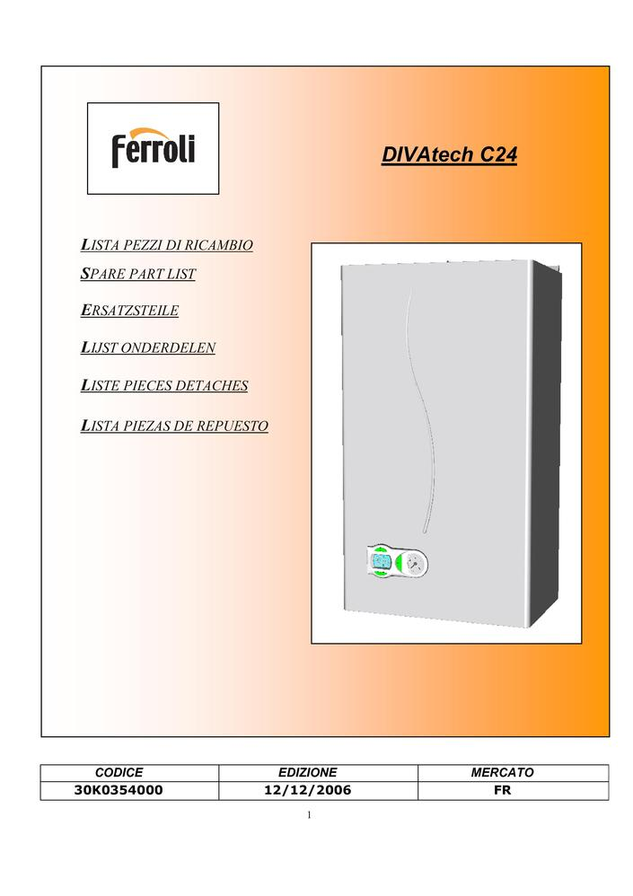 Pi ces d tach es chaudi re ferroli divatech c24 pi ces for Ferroli domicompact c24
