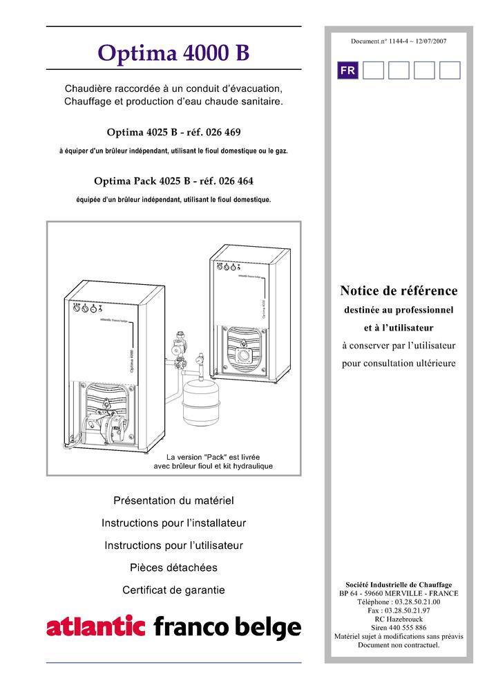 pi ces d tach es chaudi re franco belge optima 4025 b. Black Bedroom Furniture Sets. Home Design Ideas