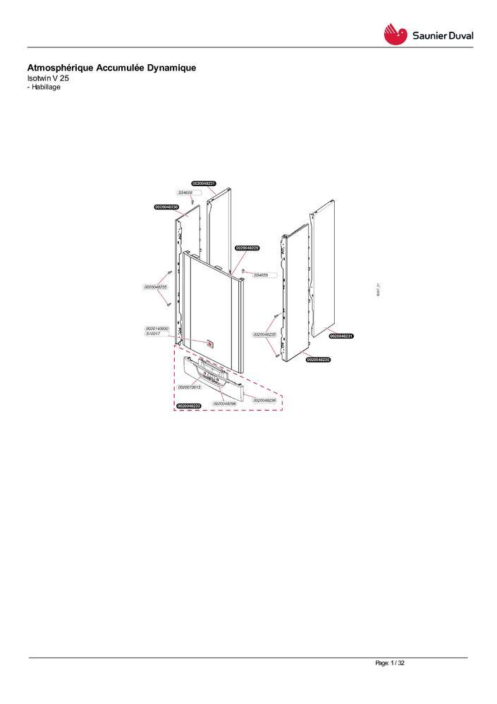 Echangeur sanitaire chaudière saunier Duval ISOFAST ISOMAX ISOTWIN vis et joints