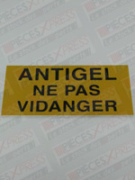 Etiquette Antigel Ne Pas Vidanger CZ40 Coditherm