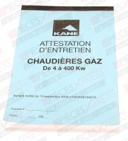 Attestation d'entretien gaz Kane AGF25/2