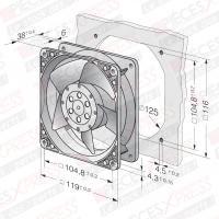 Ventilateur 120x120x38 19w 2650rpm  EBM4650N