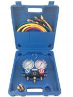 Manifold pour R407-R410A-R22-R134A avec 1 flexible avec vanne 150cm 1/4-1/4 et 2 flexibles avec vanne 150cm 1/4 -5/16, 2 raccords 5/16-1/4 + coffret Teddington TF-VMG 2 R410AA